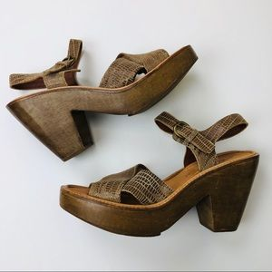 Rachel Comey Wooden Clog Wedge Strappy Sandal 8.5